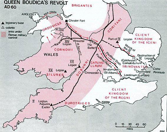 La révolte de Boudicca a lieu deux ans plus tôt, les Romains sont chassés de Bretagne. Boudicca-campagnes
